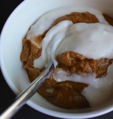 Dairy-Free Pumpkin Pudding with Vanilla Almond Topping