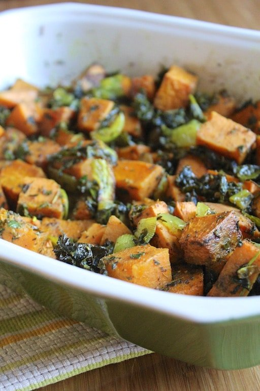 Kale & Sweet Potato Bake from Carrie on Living | www.cleaneatingkitchen.com