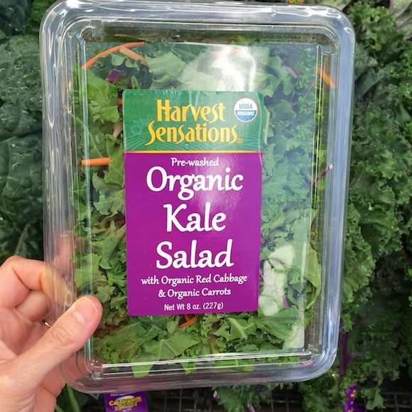 Organic kale salad as part of my healthy holiday ingredients