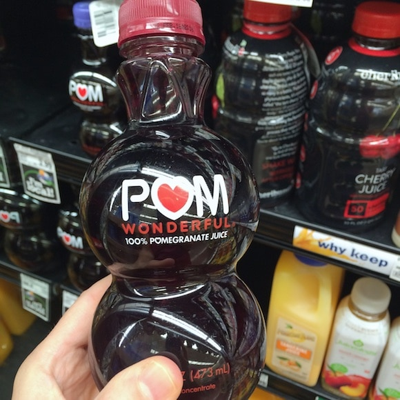 Pom juice as part of my healthy holiday ingredients