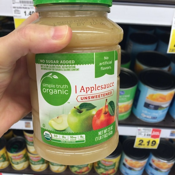 Unsweetened applesauce as part of my healthy holiday ingredients