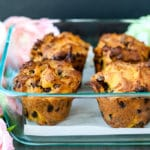 Cassava chocolate chip muffins in a pan