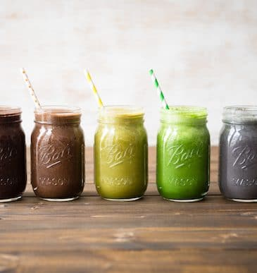 Five Rainbow Smoothies