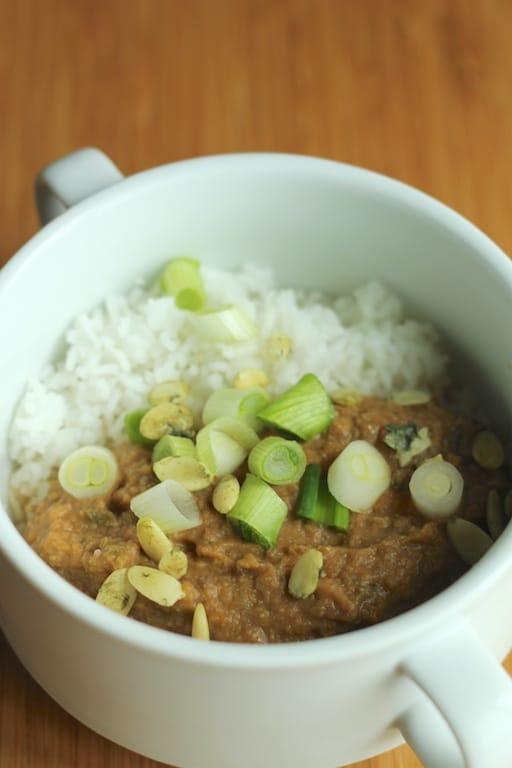 Crockpot Coconut Cauliflower Stew with onions