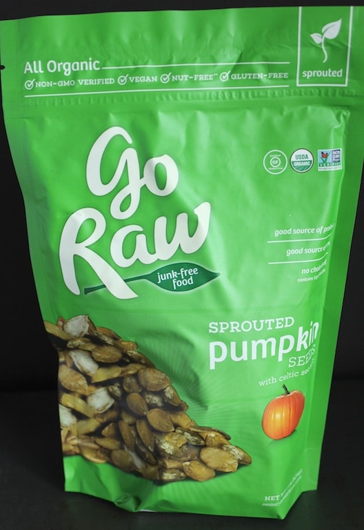 Go Raw pumpkin seeds as part of my healthy salad toppers (gluten, dairy-free) sprouted