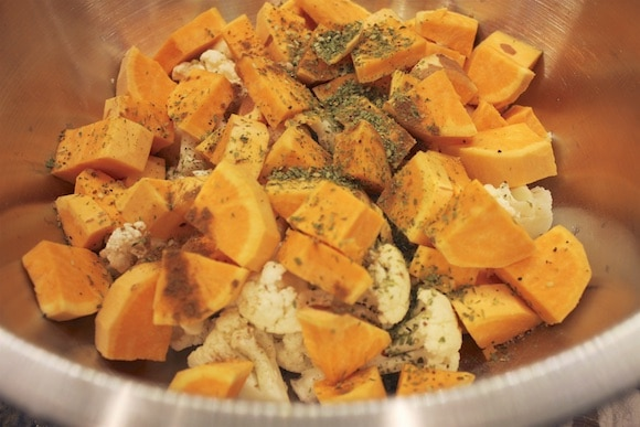Sweet potato as part of my healthy salad toppers (gluten, dairy-free)