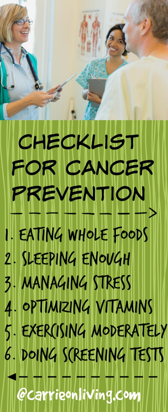 Cancer Prevention Checklist from Carrie Forrest, MBA/MPH