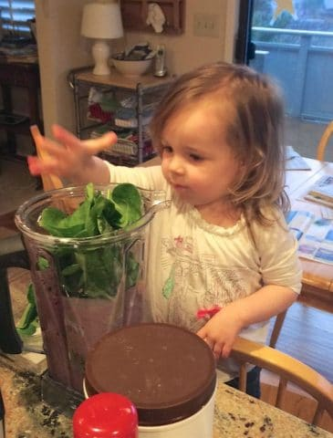 Green Smoothie making with toddler