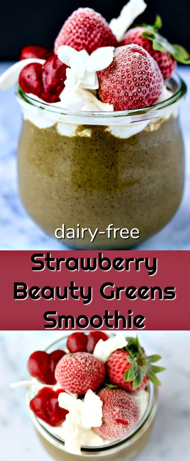 This Strawberry Beauty Greens Smoothie with Gelatin Hearts is nourishing and delicious. It's filled with micronutrients and greens for beautiful skin, plus gelatin hearts to support gut health, too.