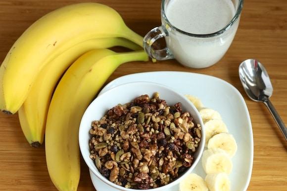 Chocolate Buckwheat Granola bowl with bananas