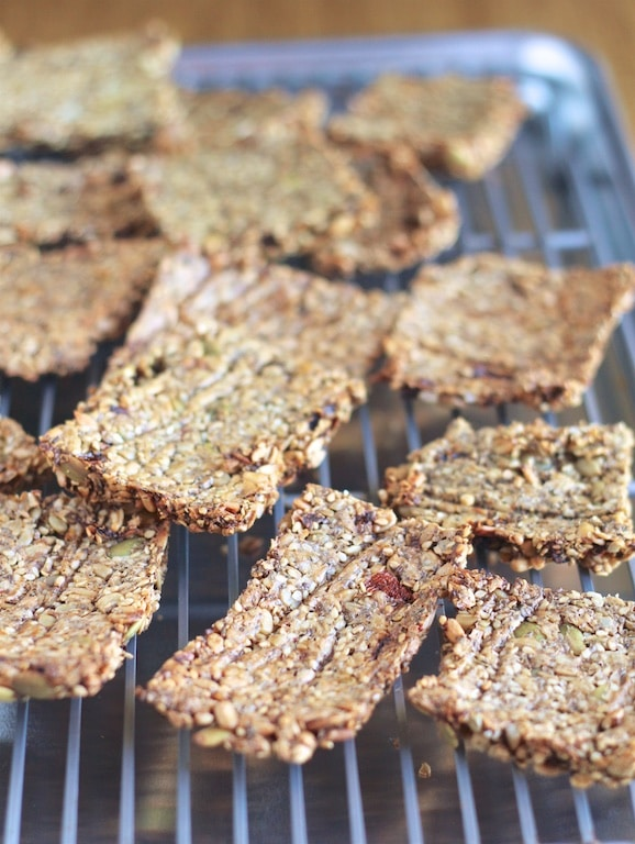 Super-Seed Crackers from the Oh She Glows Every Day cookbook cooling