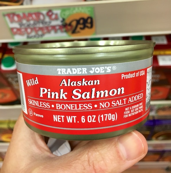 Canned Alaskan salmon as part of my 5-minute meal shopping from Trader Joe's