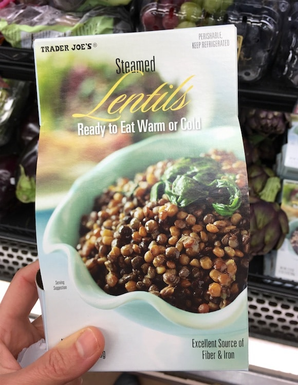 Cooked lentils as part of my 5-minute meal shopping from Trader Joe's