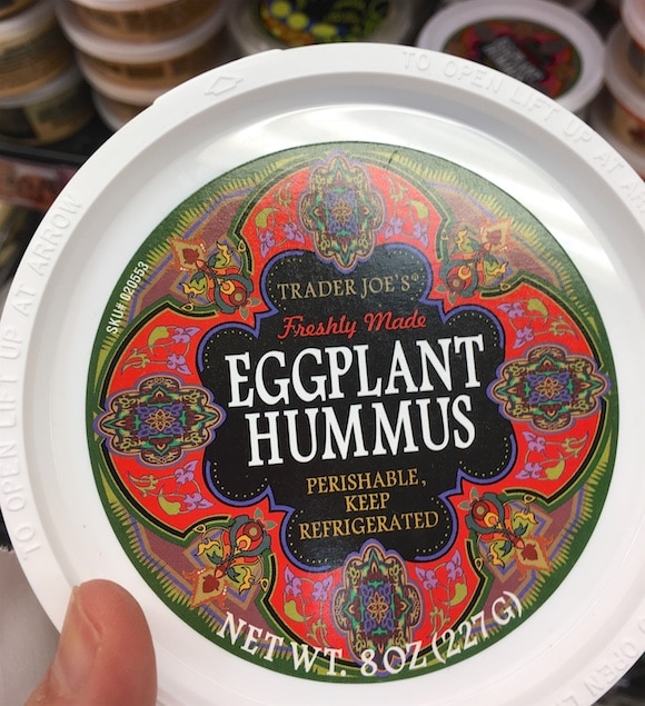Eggplant hummus as part of my 5-minute meal shopping from Trader Joe's