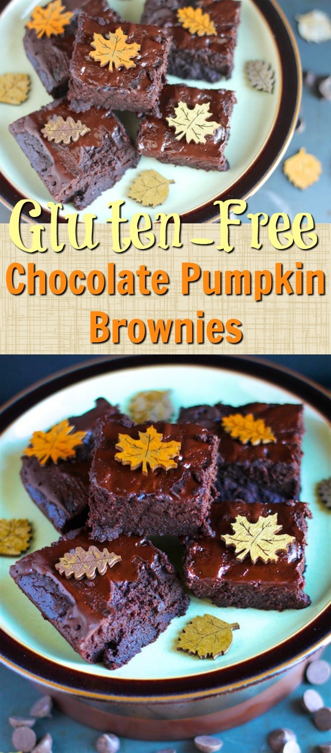 You're going to love these Gluten-Free Chocolate Pumpkin Brownies. These healthy brownies are guilt-free because of mysneaky substitution of pumpkin puree for most of the oil in the original recipe. #glutenfree #pumpkin #chocolate #guiltfree #pumpkinpuree #dairyfree #brownies #dessert