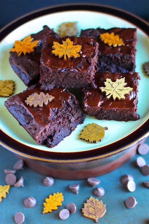 Healthy pumpkin chocolate brownies on a plate