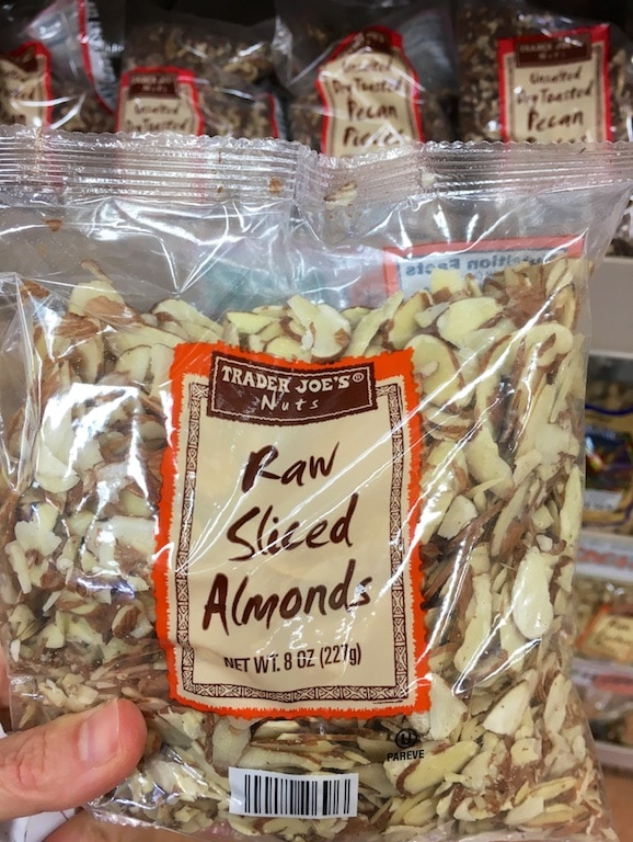 Slice almonds as part of my 5-minute meal shopping from Trader Joe's