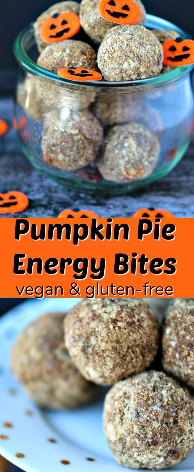 Raw and vegan Pumpkin Pie Bites for an easy treat! No-Bake Energy Bites, pumpkin cookie, paleo pumpkin recipe, vegan pumpkin recipe, healthy cookie recipe.
