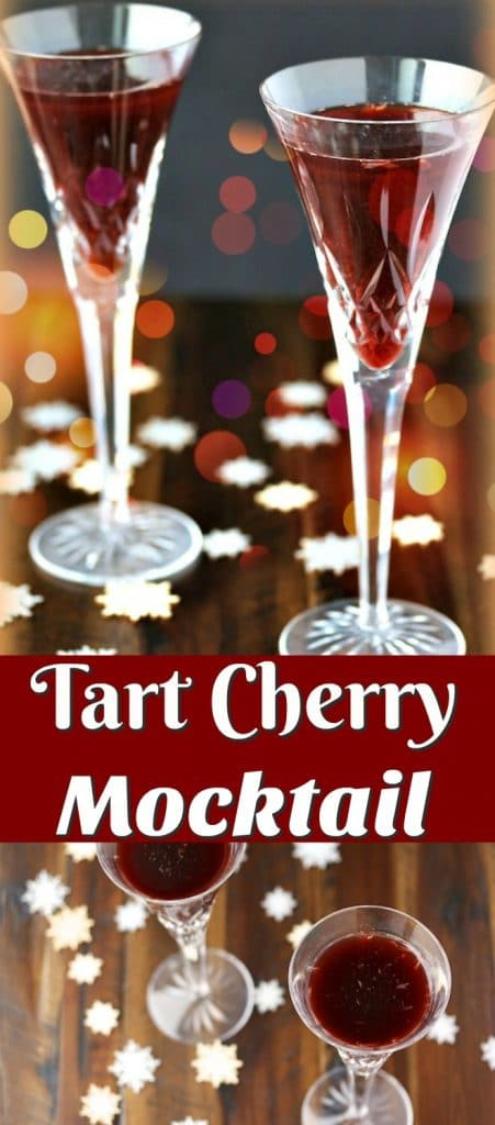 Tart Cherry Mocktail for an alcohol-free, healthy beverage to celebrate any day of the year. This recipe is sugar-free and uses the superfood tart cherry juice.