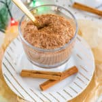 vegan pumpkin pie spice chia pudding with cinnamon sticks