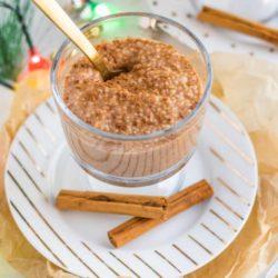 vegan pumpkin pie spice chia pudding with cinnamon sticks