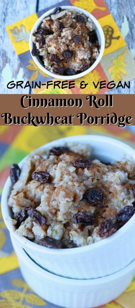 This Cinnamon Roll Buckwheat Porridge is a gluten- and grain-free healthy breakfast option. Paleo and vegan too!