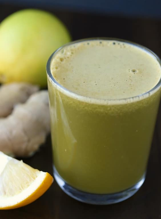 Lemon Ginger Green Juice that is high in nutrients and mild in flavor.