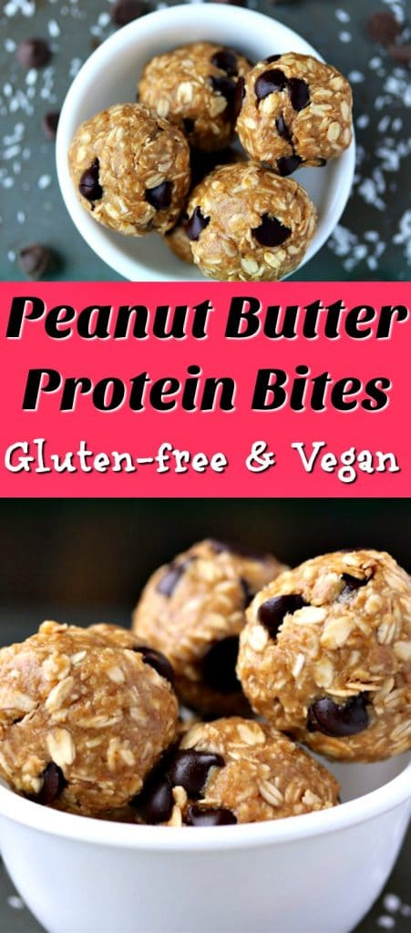 Peanut Butter Protein Bites for a gluten-free and vegan healthy dessert or snack. Healthy recipe, easy dessert, vegan dessert, peanut butter cookies