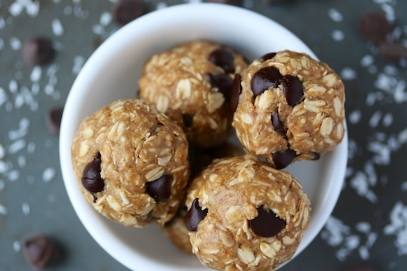 Peanut Butter Protein Bites with chocolate chips