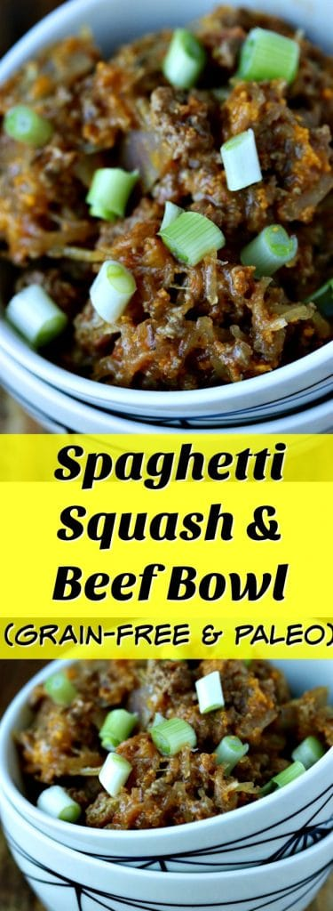 This Spaghetti Sqash Beef Bowl is a grain-free dish made with only 5 ingredients! This is an easy and healthy weeknight meal. Paleo recipe, grain-free bowl, healthy recipe, paleo dinner