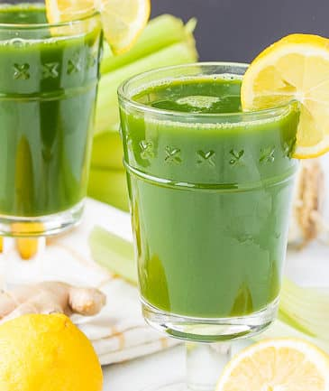 lemon ginger green juice in pretty glasses