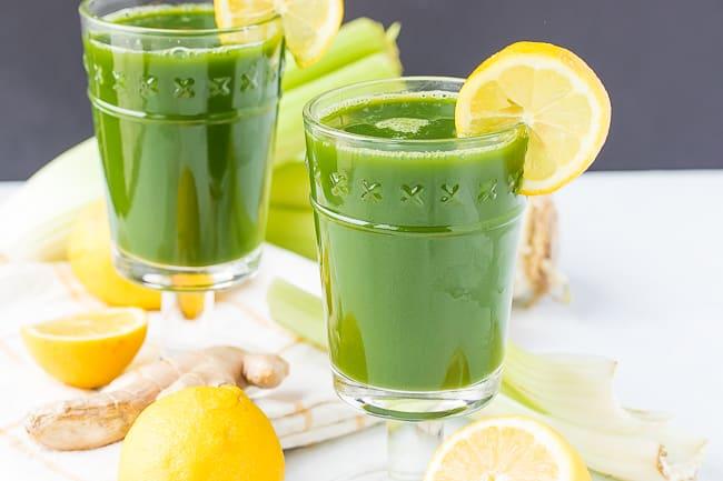 lemon ginger green juice in pretty glasses