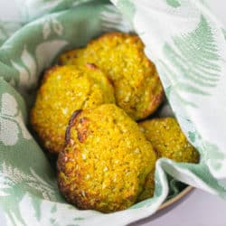 basket of cooked cauliflower buns ready to be eaten