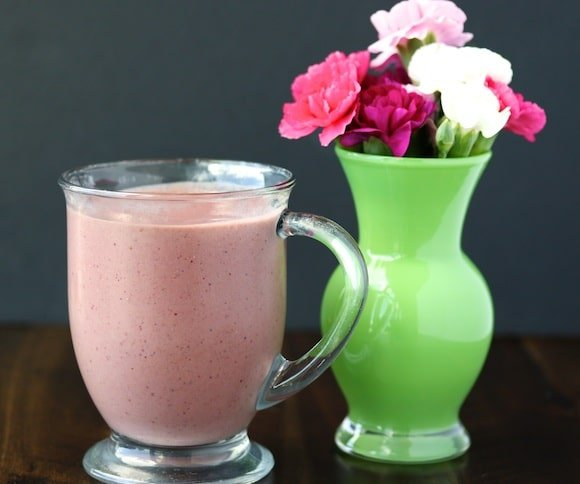 Berry Pink Smoothie with flowers