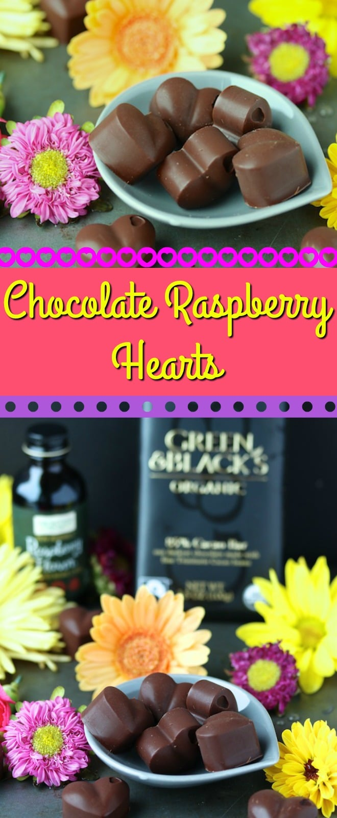 Homemade Chocolate Raspberry Hearts for a sweet treat. These are dairy- and gluten-free, and are paleo and vegan. #valentinesday #diy #homemade #chocolates #veganrecipe #paleodiet