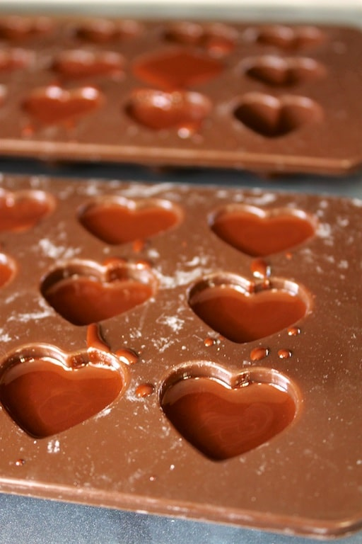 Chocolate Raspberry Hearts in molds