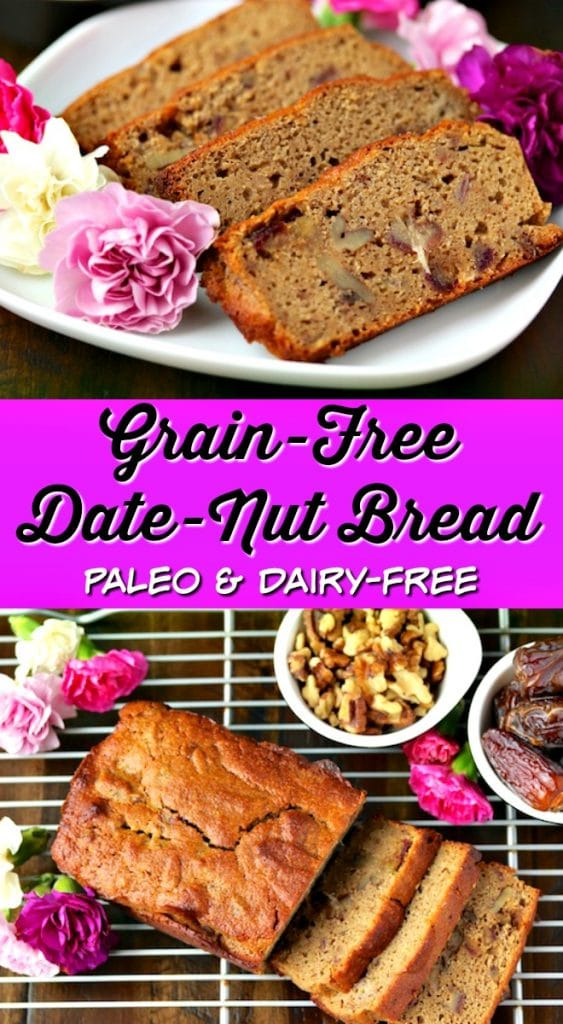 This Grain-Free Date Nut Bread is the perfect healthy snack or dessert. It is paleo and dairy-free, made using almond and cassava flours. Healthy recipe, grain free baking, paleo baking, date bread