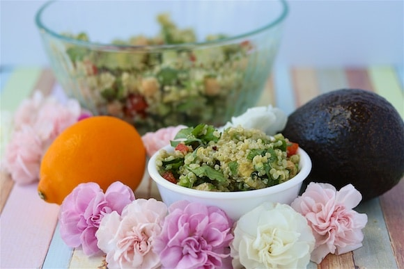 Flowers with Quinoa Salad