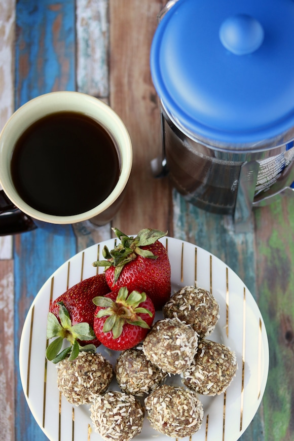 Date Hemp Energy Balls coffee press