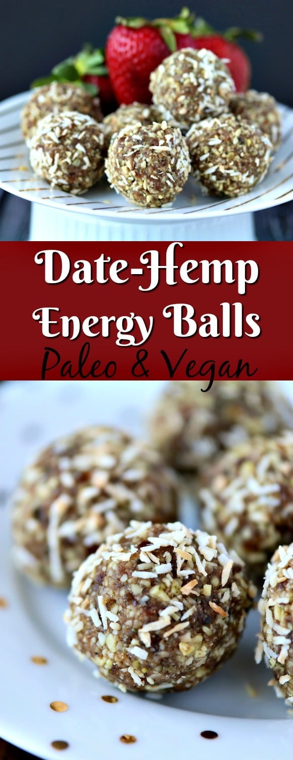 These healthy Date-Hemp Energy Balls are a healthy treat with no added sugars. Paleo and vegan, and perfect for kids.