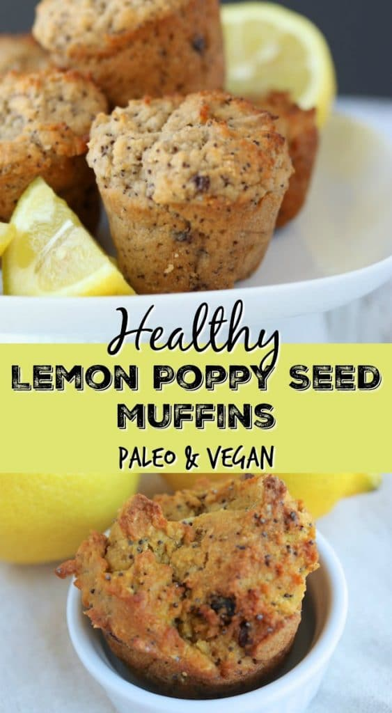 These Healthy Lemon Poppy Seed Muffins are paleo and vegan, so they are grain-free, gluten-free, and dairy-free. These are full of lemon flavor!