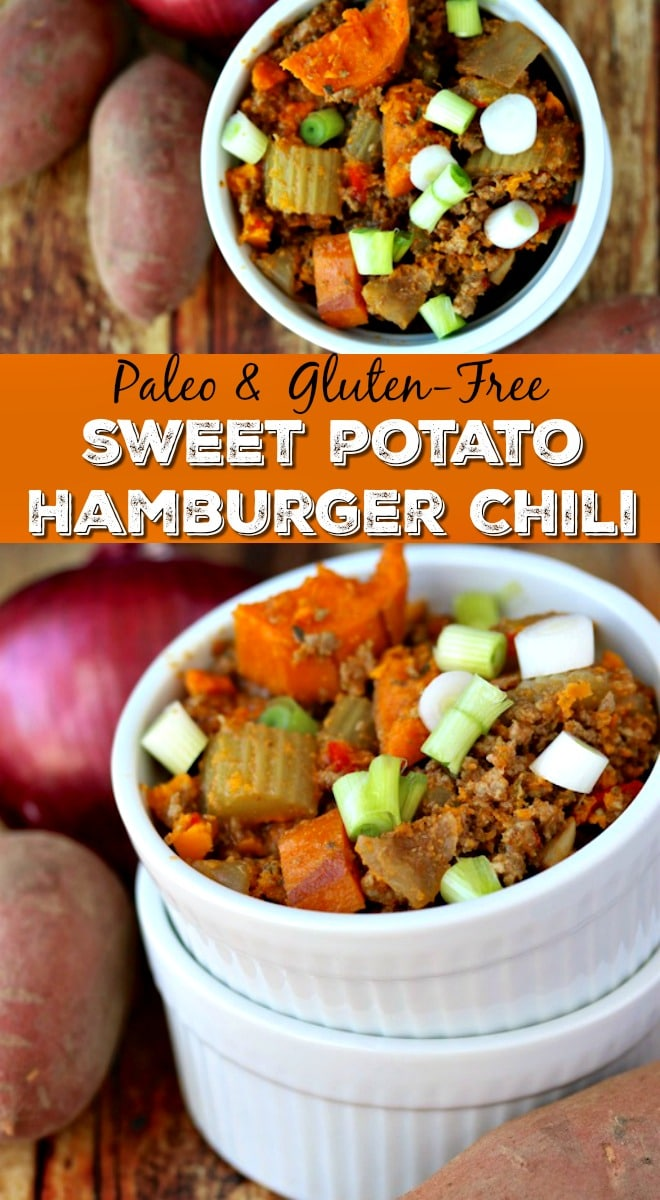 This Sweet Potato Hamburger Chili recipe is an easy and paleo-friendly meal. Make a double batch so you can enjoy it in the future too. | Crockpot recipe, paleo stew, sweet potato recipe, gluten-free soup, paleo chili