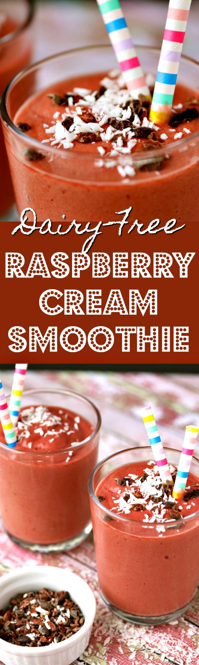 Dairy-Free Raspberry Cream Smoothie made with frozen squash for extra thickness and a serving of veggies! Vegan smoothie recipe, paleo smoothie, dairy free smoothie, green smoothie, raspberry smoothie