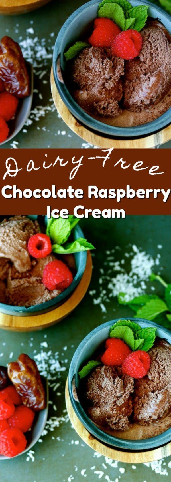 Dairy-free Chocolate Raspberry Ice Cream made using coconut milk. Date-sweetened so no refined sugars necessary!