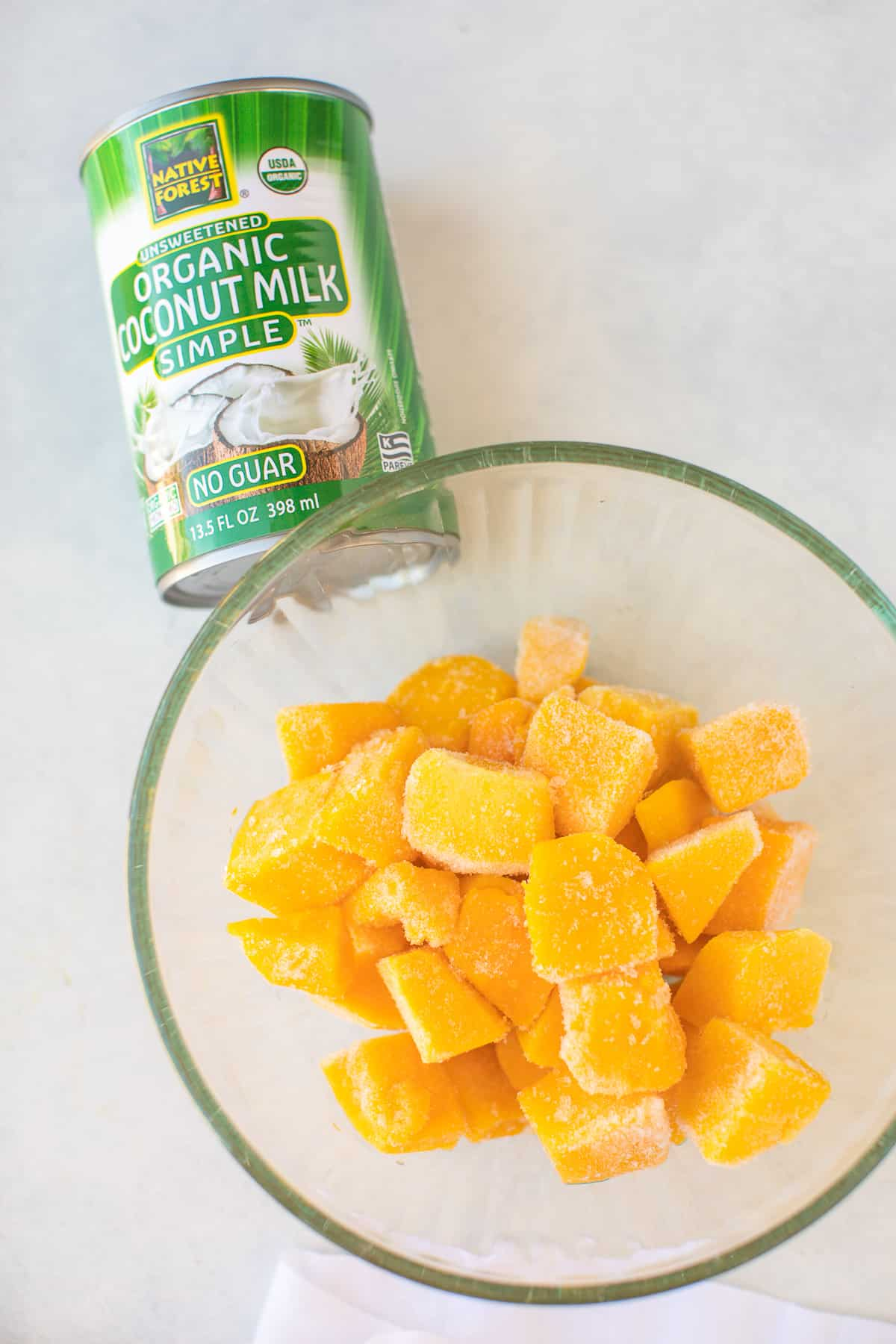 mango chunks and coconut milk for ice cream