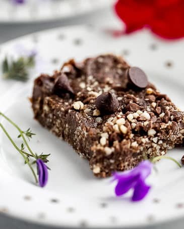 vegan brownie on a white plate