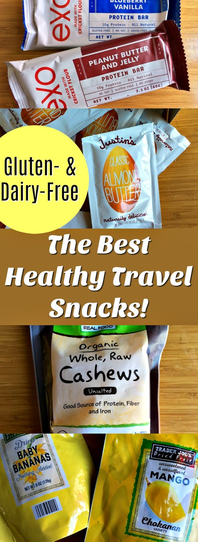 The Best Healthy Travel Snacks that are all gluten- and dairy-free! Grab and go snacks that make healthy travel easy. | gluten-free, dairy-free, healthy travel, healthy snacks, real food snacks