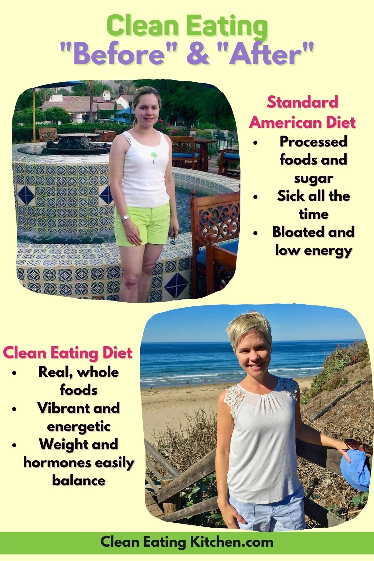 clean eating before and after graphic