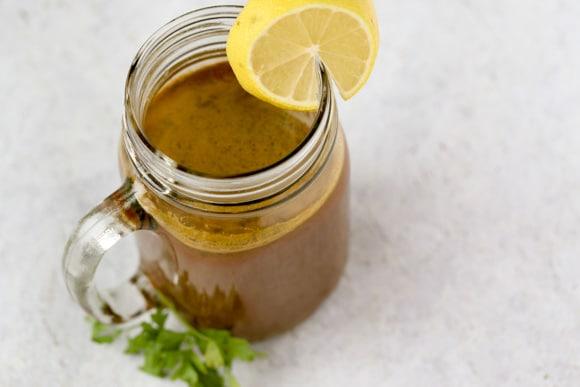 Vegetable Detox Juice with lemon overhead