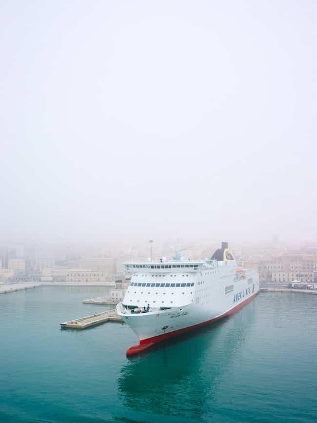cruise ship at dawn